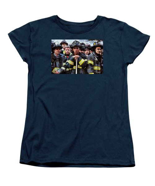 Women's T-Shirt (Standard Cut) featuring the painting New York Firefighters After 9/11 by Kai Saarto