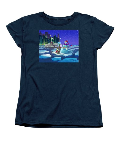Women's T-Shirt (Standard Cut) featuring the painting New York Snowman by Michael Humphries