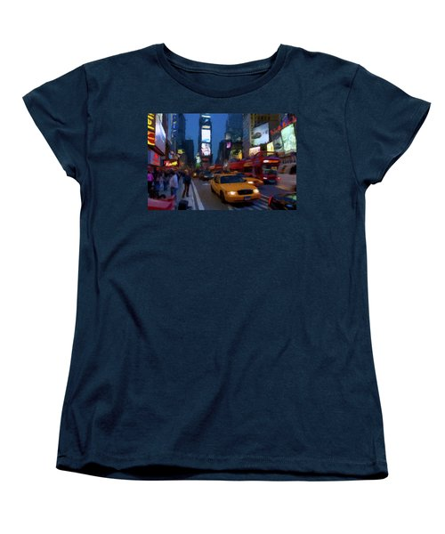 Women's T-Shirt (Standard Cut) featuring the painting New York Yellow Cab by David Dehner