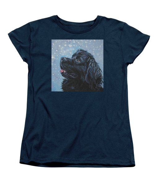 Newfoundland In Snow Women's T-Shirt (Standard Cut) by Lee Ann Shepard