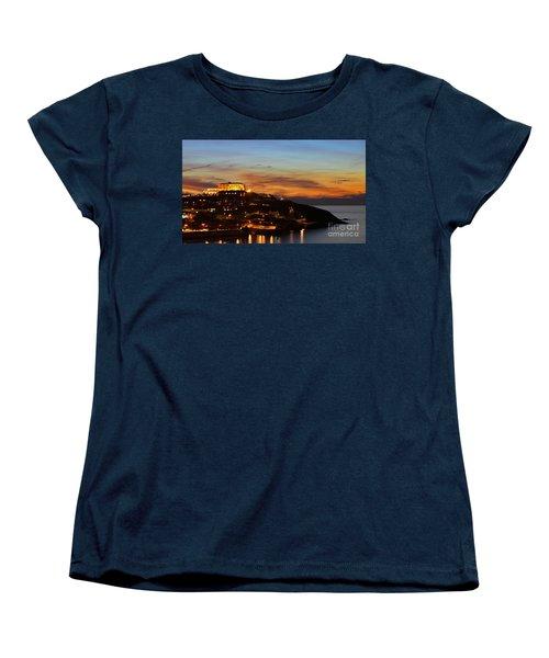 Newquay Harbor At Night Women's T-Shirt (Standard Cut)