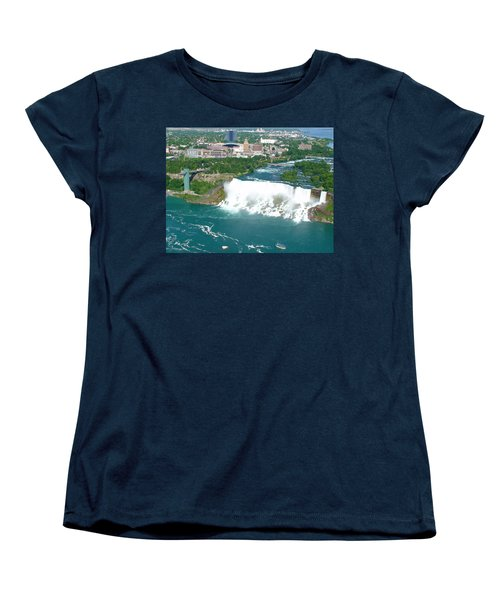 Women's T-Shirt (Standard Cut) featuring the photograph Niagara American And Bridal Veil Falls  by Charles Kraus