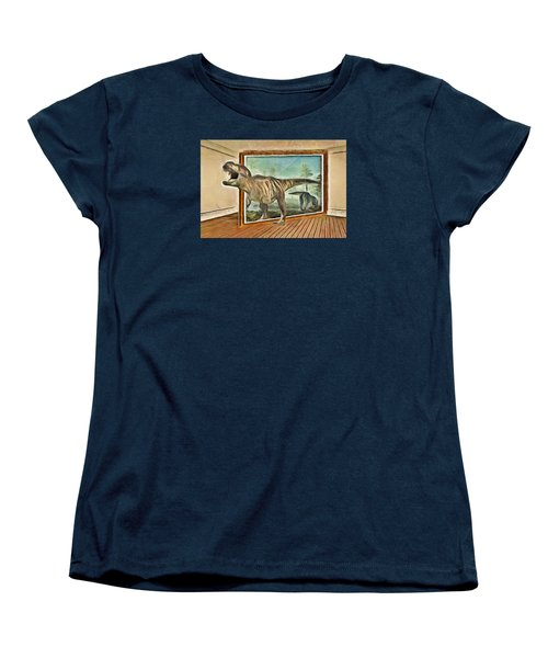 Women's T-Shirt (Standard Cut) featuring the painting Night At The Art Gallery - T Rex Escapes by Wayne Pascall