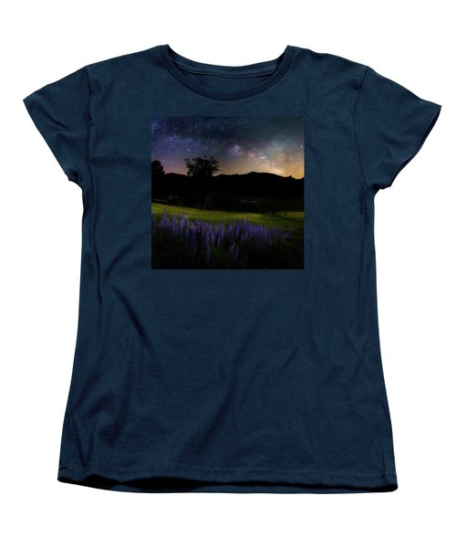Women's T-Shirt (Standard Cut) featuring the photograph Night Flowers Square by Bill Wakeley