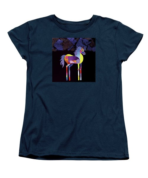 Women's T-Shirt (Standard Cut) featuring the painting Night Foal by Bob Coonts