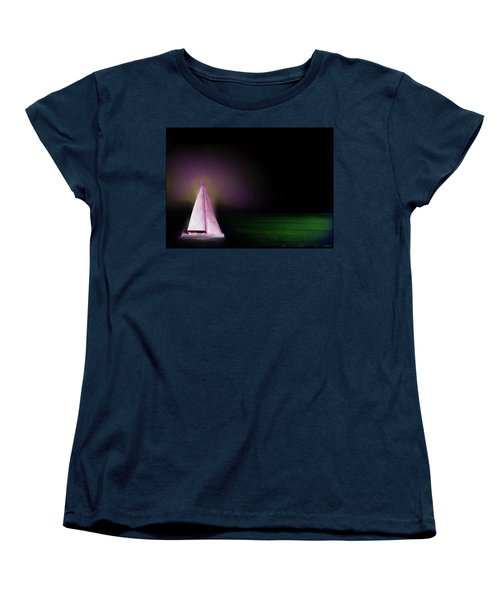 Women's T-Shirt (Standard Cut) featuring the painting Night Sailing by Michael Cleere