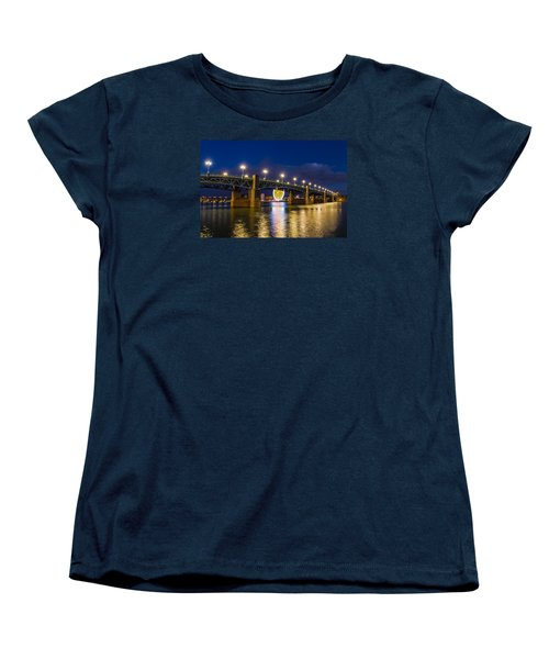 Women's T-Shirt (Standard Cut) featuring the photograph Night Shot Of The Pont Saint-pierre by Semmick Photo