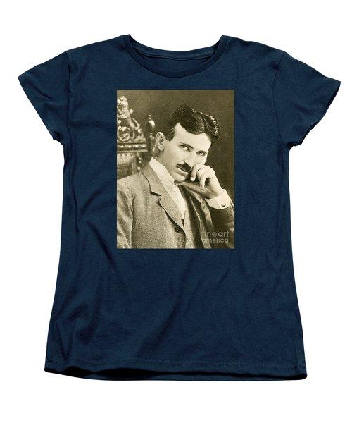 Nikola Tesla, Serbian-american Inventor Women's T-Shirt (Standard Cut) by Photo Researchers