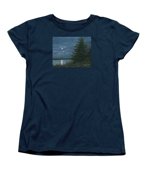 Women's T-Shirt (Standard Cut) featuring the painting Nocturne In Blue by Kathleen McDermott