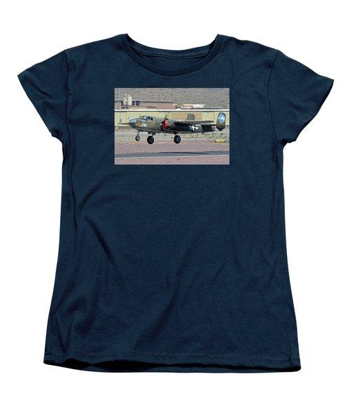 Women's T-Shirt (Standard Cut) featuring the photograph North American B-25j Mitchell Nl3476g Tondelayo Deer Valley Arizona April 13 2016 by Brian Lockett