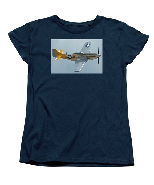 Women's T-Shirt (Standard Cut) featuring the photograph North American P-51d Mustang Nl5441v Dolly/spam Can Chino California April 30 2016 by Brian Lockett