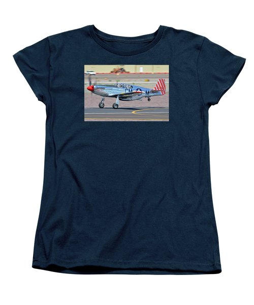 Women's T-Shirt (Standard Cut) featuring the photograph North American Tp-51c-10 Mustang Nl251mx Betty Jane Deer Valley Arizona April 13 2016 by Brian Lockett