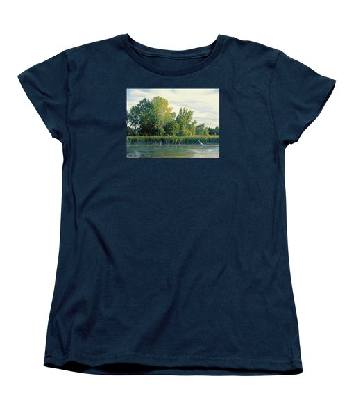 North Of The Grade-great Egret Women's T-Shirt (Standard Cut) by Bruce Morrison