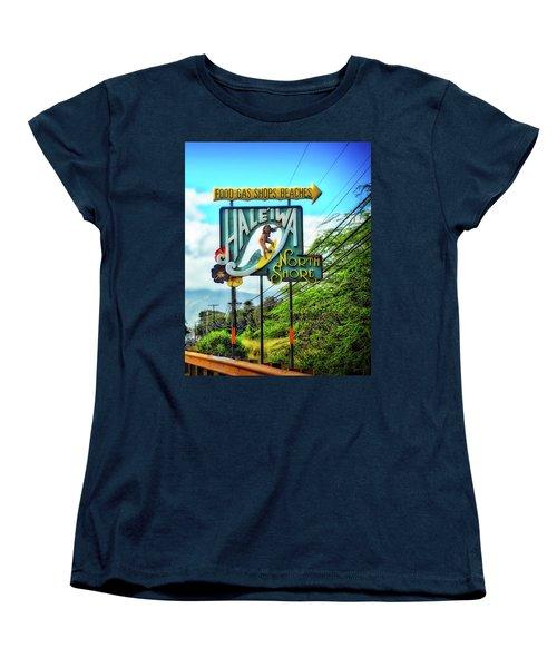 North Shore's Hale'iwa Sign Women's T-Shirt (Standard Cut) by Jim Albritton