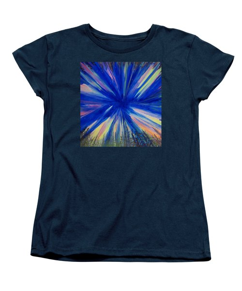 Women's T-Shirt (Standard Cut) featuring the painting Northern Lights 3 by Cathy Long