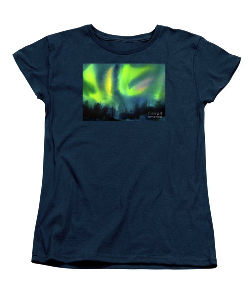 Women's T-Shirt (Standard Cut) featuring the painting Northern Lights 3 by Kathy Braud