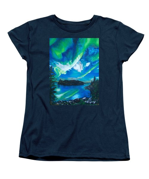Women's T-Shirt (Standard Cut) featuring the painting Northern Lights  by Sharon Duguay