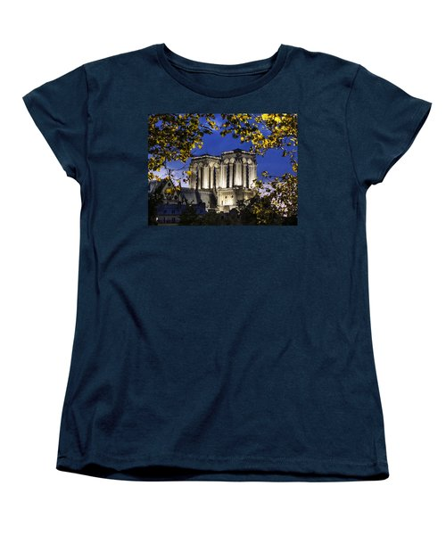 Notre Dame At Night Paris Women's T-Shirt (Standard Cut) by Sally Ross