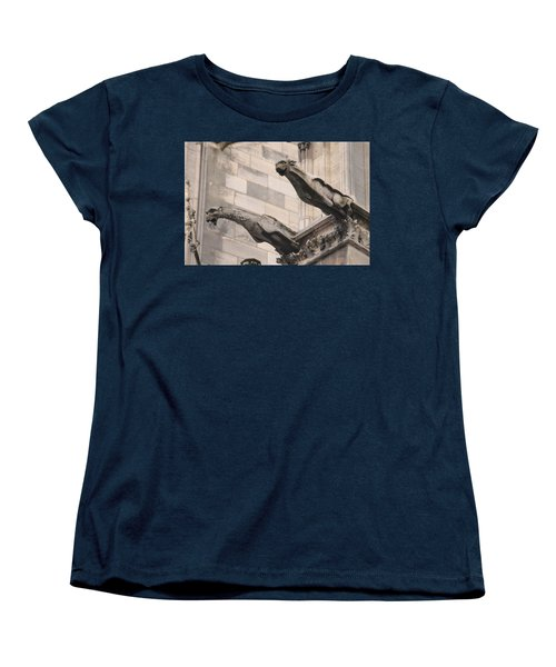 Notre Dame Cathedral Gargoyles Women's T-Shirt (Standard Cut) by Christopher Kirby