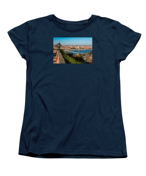 Women's T-Shirt (Standard Cut) featuring the photograph Novi Sad Vojvodina View From Petrovaradin Fortress by Jivko Nakev