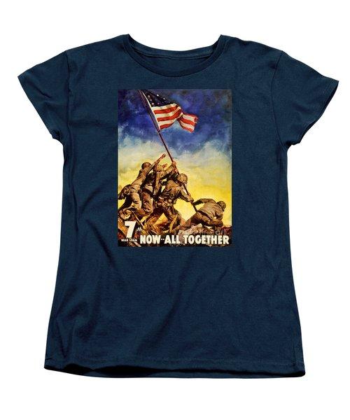 Now All Together Vintage War Poster Restored Women's T-Shirt (Standard Cut) by Carsten Reisinger