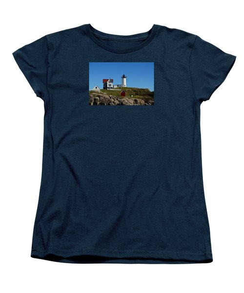 Women's T-Shirt (Standard Cut) featuring the photograph Nubble Lighthouse In Ogunquit  by Richard Ortolano