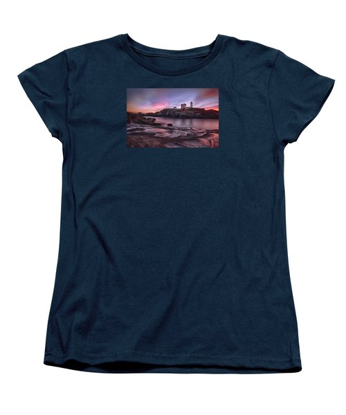 Nubble Lighthouse At Sunrise York Me Women's T-Shirt (Standard Cut) by Betty Denise
