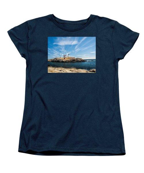 Nubble Lighthouse With Dramatic Clouds Women's T-Shirt (Standard Cut) by Nancy De Flon