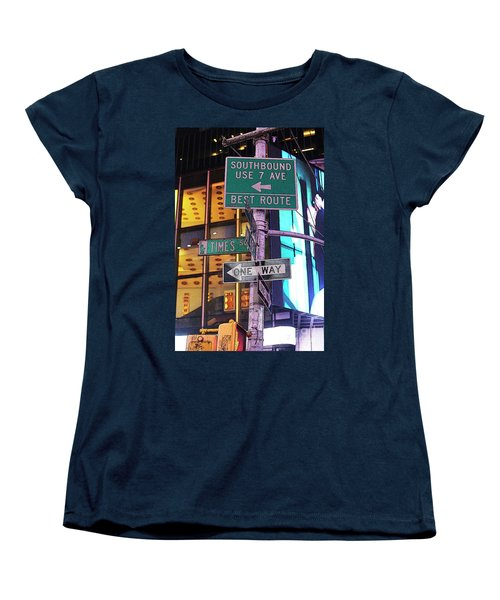 Nyc Street Sign Women's T-Shirt (Standard Cut) by Kate Purdy