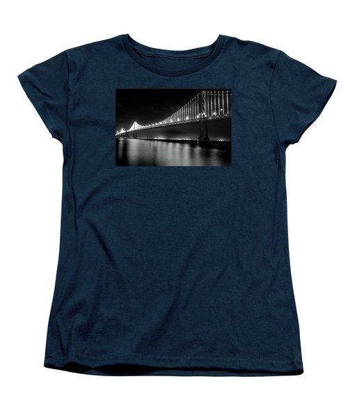 Women's T-Shirt (Standard Cut) featuring the photograph Oakland Bay Bridge At Night by Darcy Michaelchuk