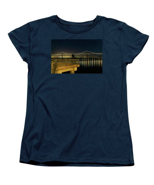 Oakland Bay Bridge By The Pier In San Francisco At Night Women's T-Shirt (Standard Fit)