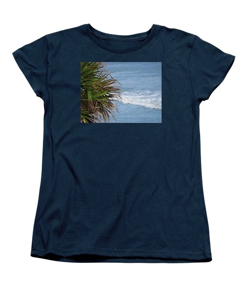Ocean And Palm Leaves Women's T-Shirt (Standard Cut) by Kathy Long