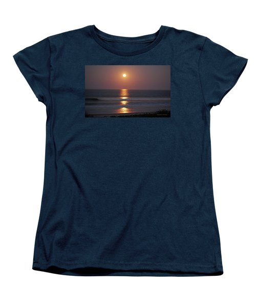 Ocean Moon In Pastels Women's T-Shirt (Standard Cut) by DigiArt Diaries by Vicky B Fuller