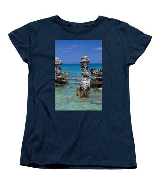 Ocean Rock Formations Women's T-Shirt (Standard Cut) by Sally Weigand