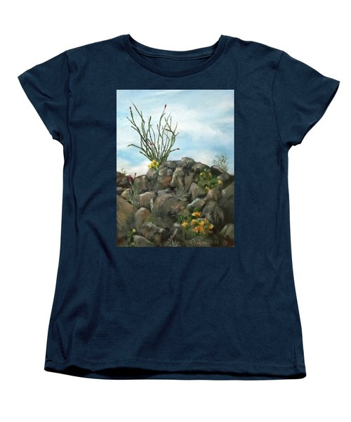 Women's T-Shirt (Standard Cut) featuring the painting Ocotillo In Bloom by Roseann Gilmore