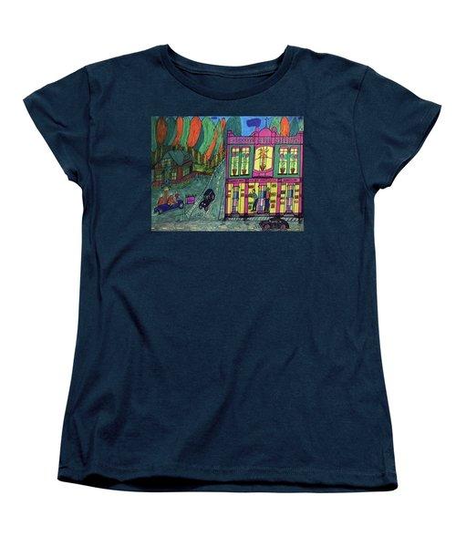 Women's T-Shirt (Standard Cut) featuring the drawing Oddfellows Building. Historical Menominee Art. by Jonathon Hansen