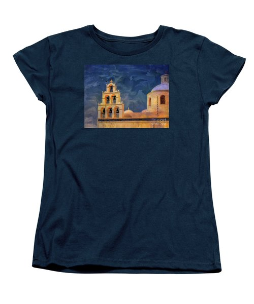 Women's T-Shirt (Standard Cut) featuring the photograph Oia Sunset Imagined by Lois Bryan