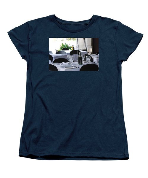 Women's T-Shirt (Standard Cut) featuring the photograph Oils And Glass At Dinner by Rob Hans