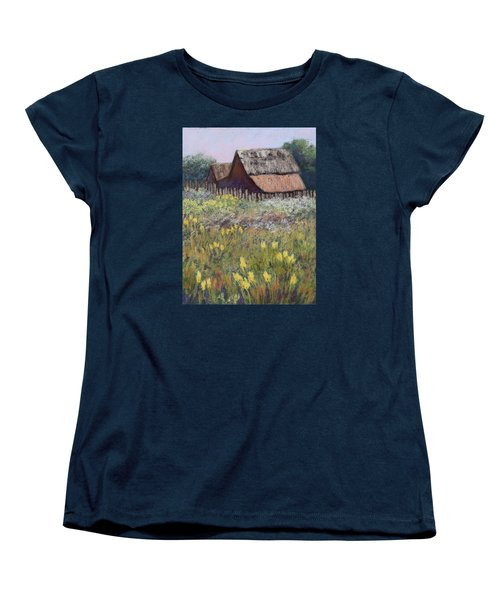 Women's T-Shirt (Standard Cut) featuring the painting Old Barn In Spring by Nancy Jolley