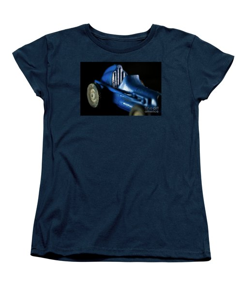 Women's T-Shirt (Standard Cut) featuring the photograph Old Blue Toy Race Car by Wilma Birdwell