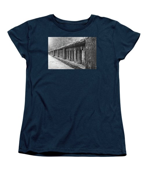 Old Bridge In Black And White Women's T-Shirt (Standard Cut) by Angi Parks