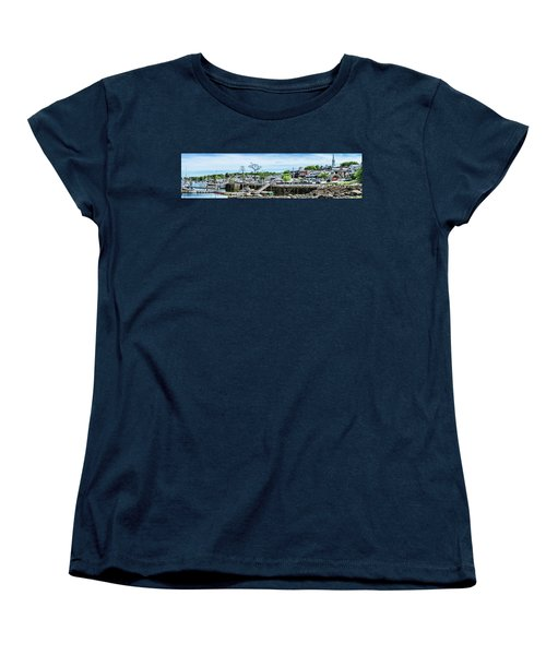Women's T-Shirt (Standard Cut) featuring the digital art Old Camden Harbor View by Daniel Hebard