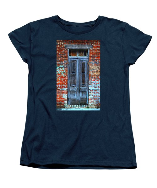 Old Door With Bricks Women's T-Shirt (Standard Cut) by Perry Webster