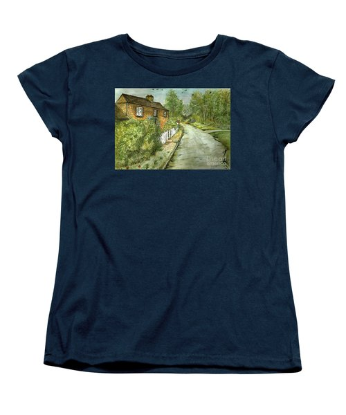 Women's T-Shirt (Standard Cut) featuring the painting Old English Cottage by Teresa White