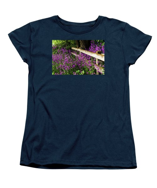 Old Fence And Purple Flowers Women's T-Shirt (Standard Cut)