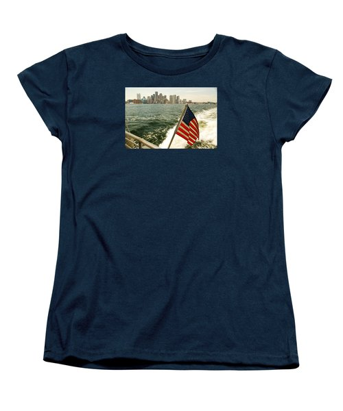 Women's T-Shirt (Standard Cut) featuring the photograph Old Glory On Boston Harbor by James Kirkikis