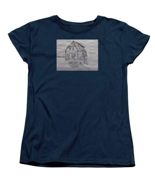 Women's T-Shirt (Standard Cut) featuring the drawing Old House In Raleigh by Joel Deutsch