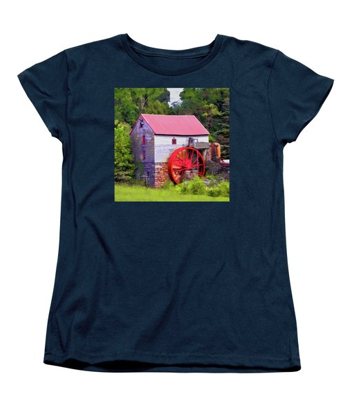 Old Mill Of Guilford Painted Square Women's T-Shirt (Standard Cut) by Sandi OReilly
