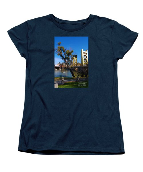 Women's T-Shirt (Standard Cut) featuring the photograph Old Sacramento Tower Bridge by Debra Thompson