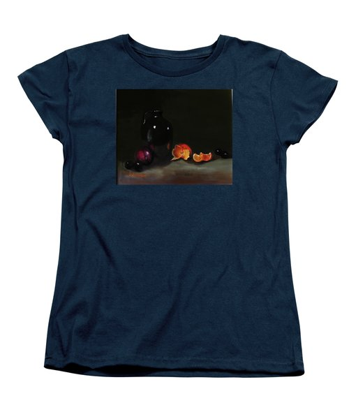 Old Sake Jug And Fruit Women's T-Shirt (Standard Cut) by Barry Williamson
